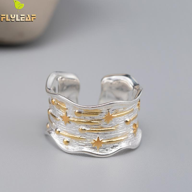 Flyleaf Ins Style Wide Surface Meteor Shower Gold <font><b>Real</b></font> <font><b>925</b></font> Sterling Silver <font><b>Rings</b></font> <font><b>For</b></font> <font><b>Women</b></font> Fine Jewelry Open <font><b>Ring</b></font> High Quality image