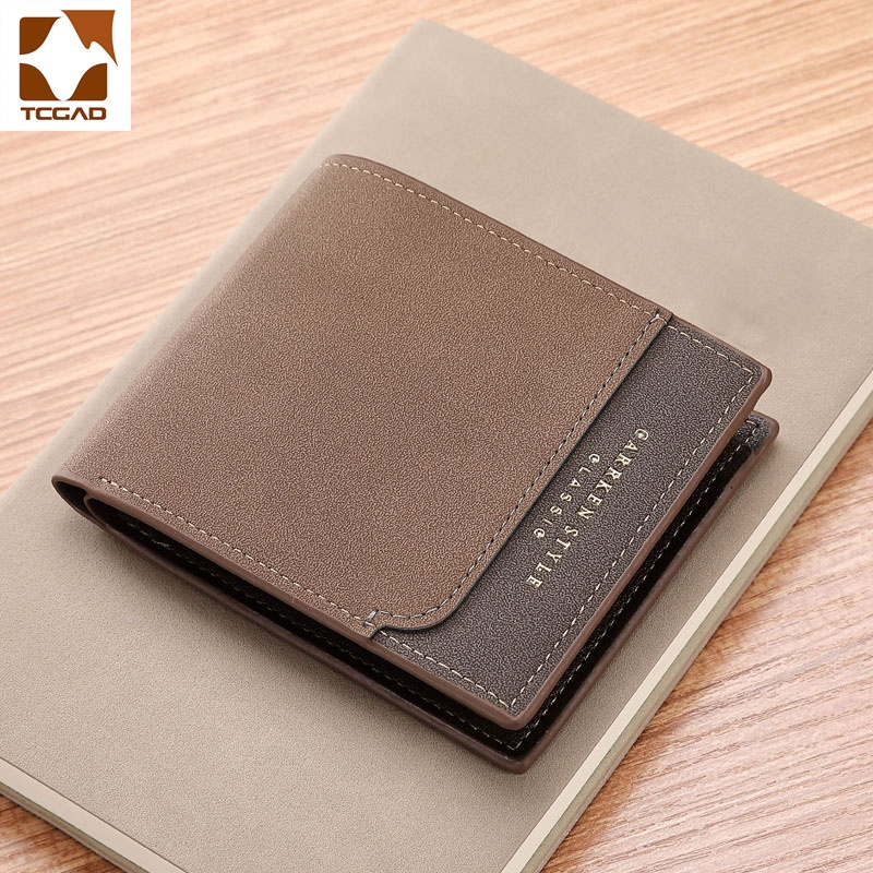 Men's Wallet Casual Small Carteiras Wearproof Dollar Thin Purse Patchwork Black/brown/coffee Man Wallet PU Leather Mini Cuzdan