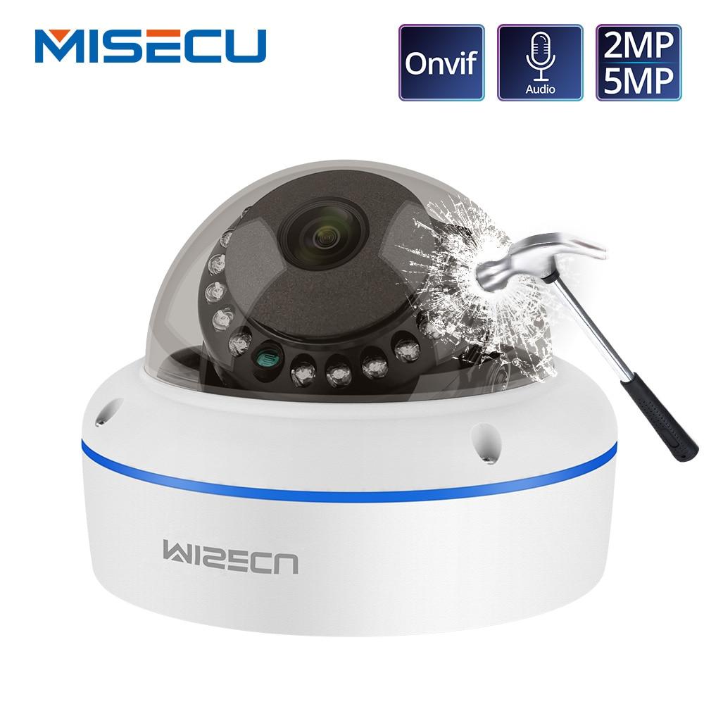 Misecu câmera de vigilância interna, super hd 5mp 2mp h.265 ip poe, microfone para áudio 1080 p, câmera de segurança onvif p2p