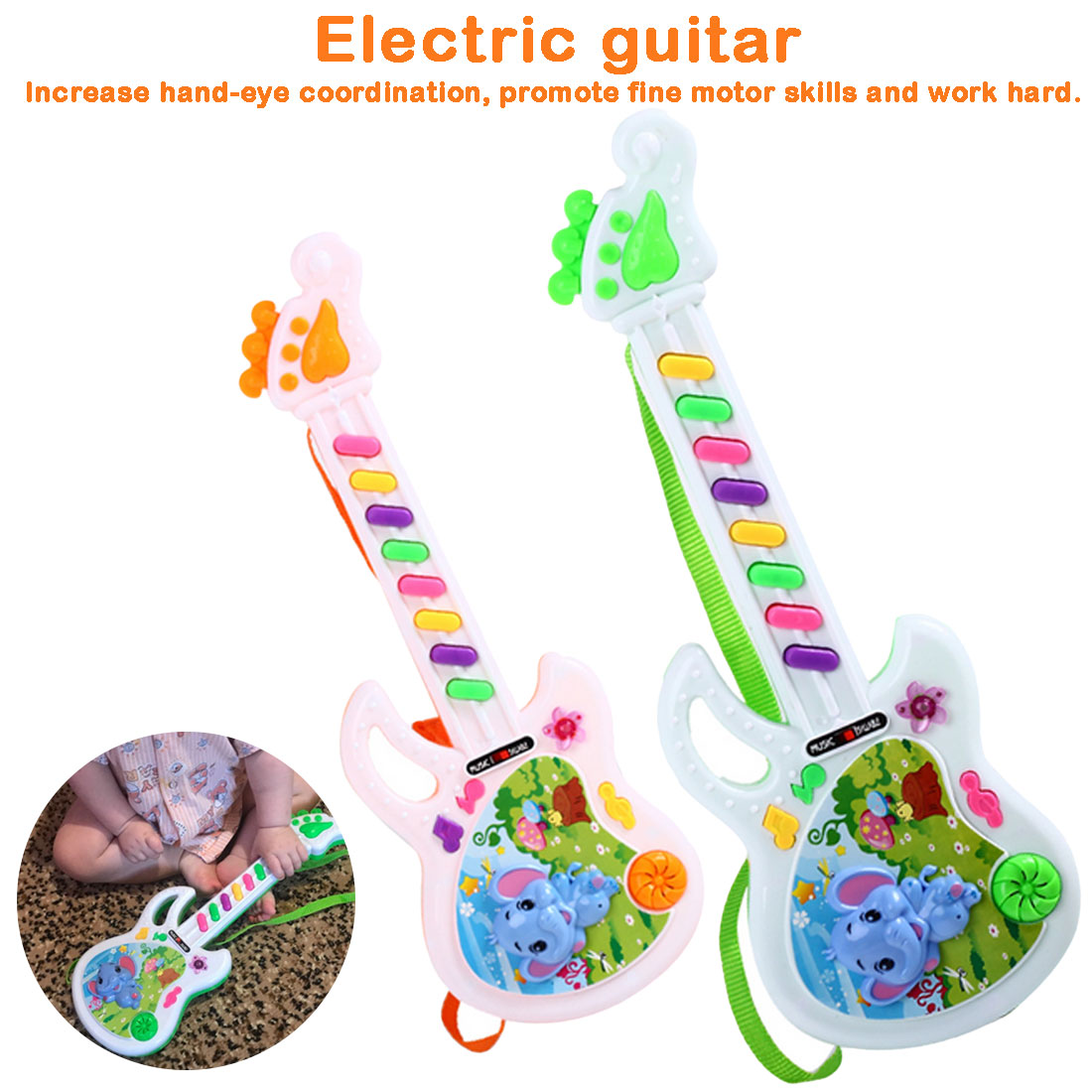 Electronic Music Guitar Baby Acoustic Elephant Guitar Musical Instrument Baby Toy For Children's Gift