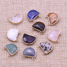 Натуральный камень два отверстия разъем Изысканный Подвески