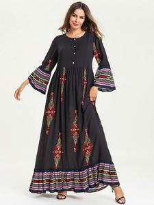 Image 5 - Muslim Women Dress Kids Girls Abaya Loose Kaftan Printed Long Sleeve Maxi Dress Buttons Robe Family Matching Outfits Dress O nec