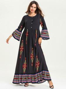 Image 5 - Muzułmanki sukienka dla dzieci dziewczyny Abaya luźna Kaftan drukowana sukienka Maxi z długim rękawem przyciski szata jednakowe stroje rodzinne sukienka o nec