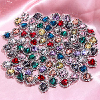 10Pcs/set Fashion Exquisite 9 Color Heart Crystal DIY Jewelry Accessories Shiny Rhinestone for Making Earring Necklace Pendant цена 2017