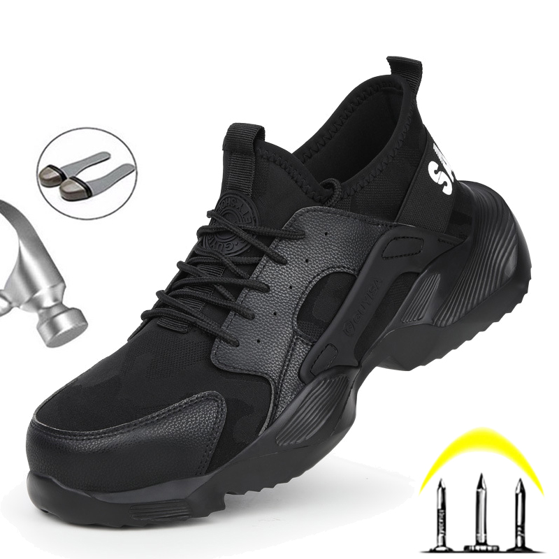 Manlegu New 36-48 Men Safety Boots Steel Toe Shoes Puncture-Proof Work Sneakers Safety Shoes Construction Outdoors Man Work Boot