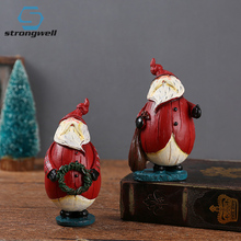 Strongwell European Resin Santa Claus Statue Crafts Ornament Home Decoration Accessories Figurines Christmas Gift Kids Funny Toy