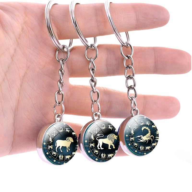 Fashion 12 Constellation Keychain Keyring Stainless Steel Key Rings Zodiac Signs Glass Ball Pendant Key Chain Christmas Gifts