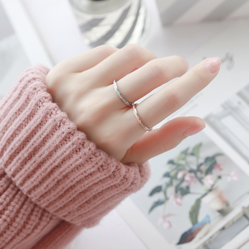 KNOCK High quality Fashion Simple Scrub Stainless Steel Women s Rings 2 mm Width Rose Gold