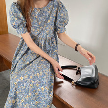 chic summer french romantic floral bubble sleeve o-neck high waist short sleeve doll dress