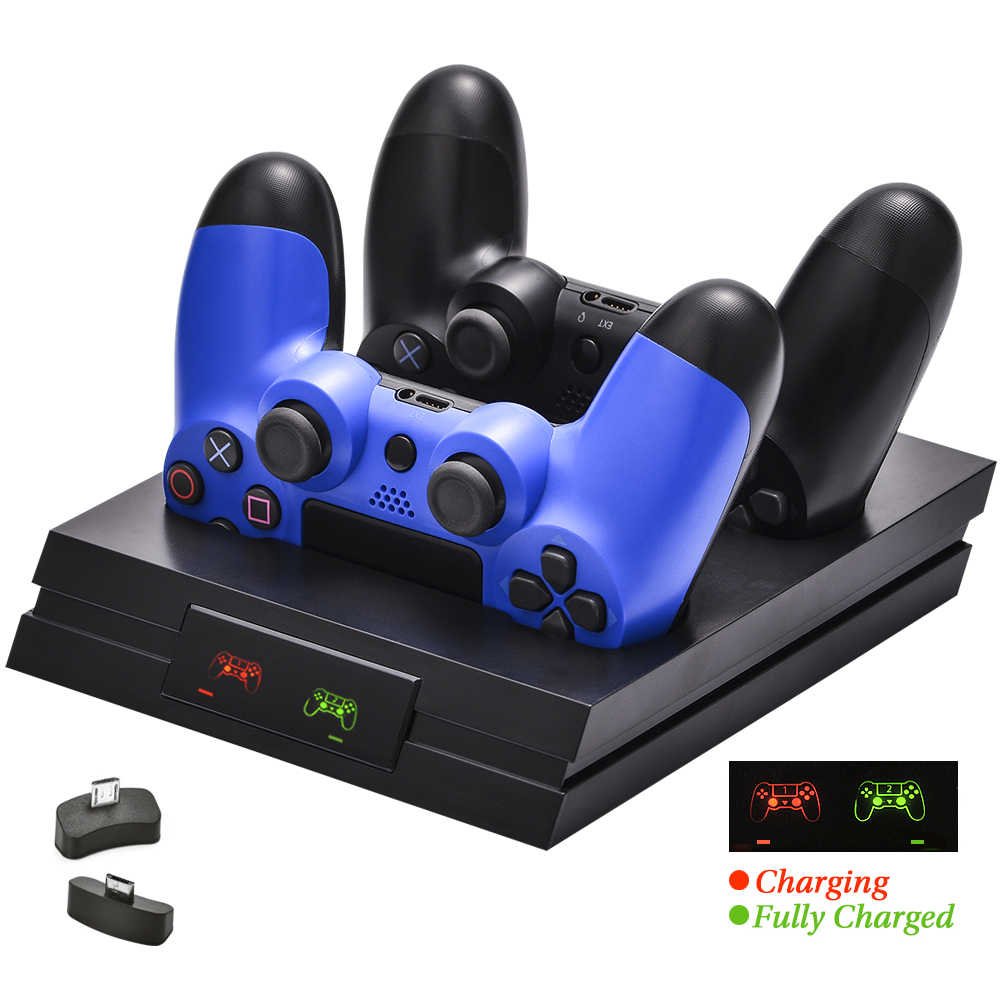 PS4/Pro/Slim Controller Charger Gamepad Nirkabel Pengisian Dock Station untuk Sony PlayStation 4 DualShock 4 Joystick Aksesoris