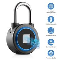 Fingerprint Padlock Thumbprint Bluetooth Lock Rechargeable IP65 Waterproof Ideal for Handbags, Golf Bags, Wardrobes, Gym, Door