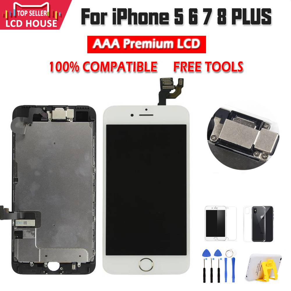 Full Set Complete Assembled LCD Display For iPhone 6 6S 7 8 Plus LCD Touch Screen Digitizer For iPhone 5S 5C 5 +Front Camera(China)