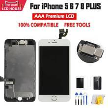 Полный комплект в сборе, ЖК дисплей для iPhone 6, 6S, 7, 8 Plus, ЖК сенсорный экран с цифровым преобразователем для iPhone 5S, с фронтальной камерой