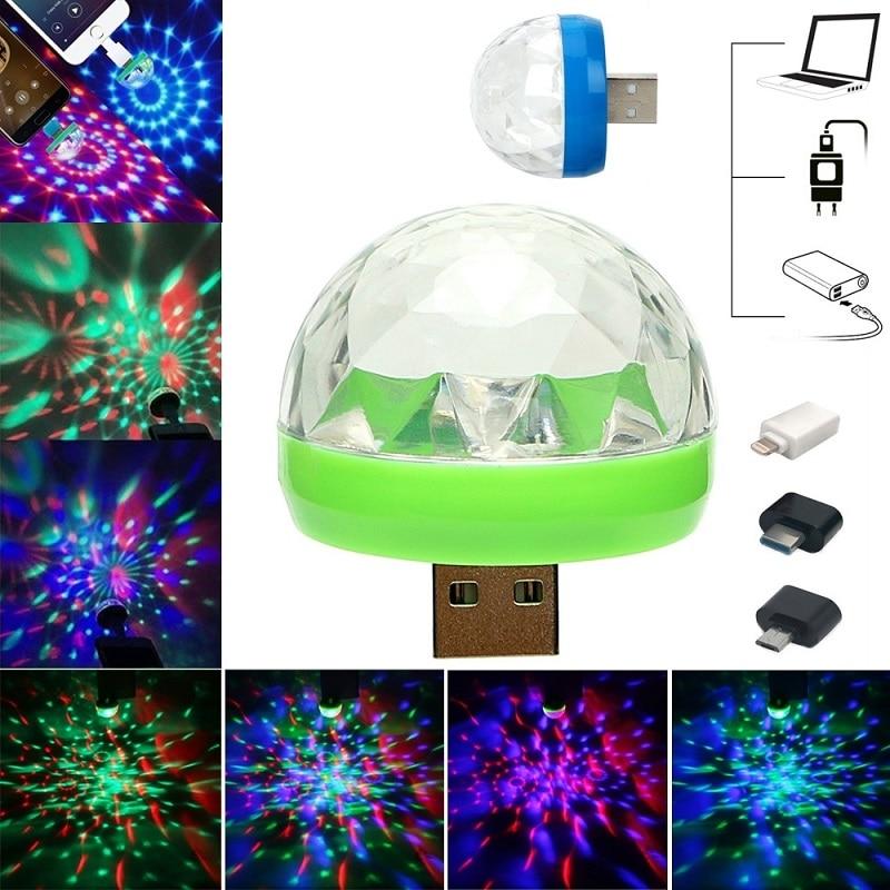 Car LED Decorative Lamp Mini RGB Atmosphere Light  Auto Interior LED USB Club Disco Magic Stage Effect Lights