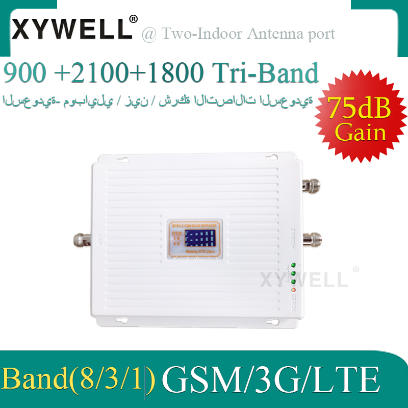 XYWELL Two-indoor Port 900/1800/2100 2g 3g 4g Tri Band Signal Booster GSM WCDMA LTE Cellular Repeater 900/1800/2100mhz Amplifier