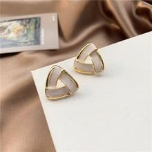 2020 New Korean Vintage Earrings For Women Geometric Triangle Simple Gold Girl Fashion Jewelry