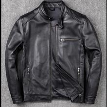 Free shipping.classic casual style,Plus size cowhide Jacket,men slim 100% genuine Leather clothes.Drop-ship leather coat,sales