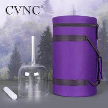 CVNC Hollow Handle Clear 6 Note F Heart Chakra Quartz Crystal Singing Bowl with Free Purple Case