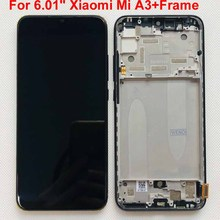 "Original Fingerprint Test For 6.01"" Xiaomi Mi A3 1906F9 AMOLED LCD screen display+touch panel digitizer Frame For Xiaomi Mi CC9e"