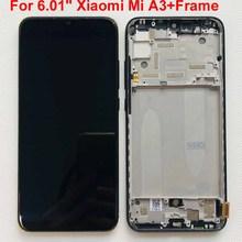 Pantalla LCD AMOLED de 6,01 pulgadas para Xiaomi Mi A3 1906F9, prueba de huella dactilar Original, marco de Digitalizador de panel táctil para Xiaomi Mi CC9e