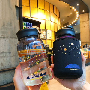 600ML Starry sky Gradient Glass Water Bottle With Protective Bag Cute Fashion Leak proof Water Cup for Girls Sport Drink Bottles