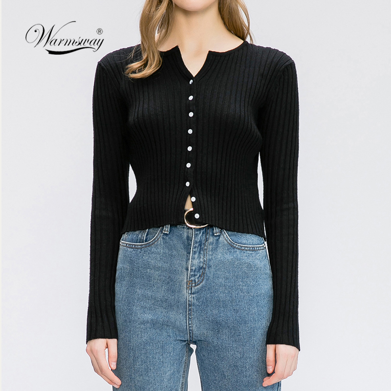 Women Button Up Ribbed Sweater Shirt Cropped Knit Cardigans Korean Knitting Crop Tops Streetwear B-020