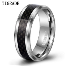TIGRADE 8mm Mens Titanium Black Carbon Fiber Inlay Beveled Edges Ring Man Cool Party Rings Wedding Band Comfort Fit Size 6-13