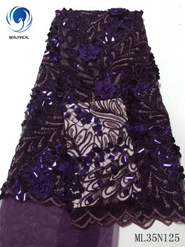 BEAUTIFICAL Nigerian lace fabrics Fashion style 3d flowers net lace fabric with beads 3d sequins lace fabrics for dress ML35N125