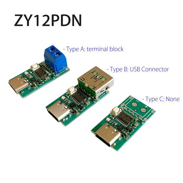 """ZY12PDN פ""""ד DC דמה זיהוי סוג C PD2.0 3.0 מהיר טעינה הדק מודול קלפי HID תכנות מודול 5A 100W"""