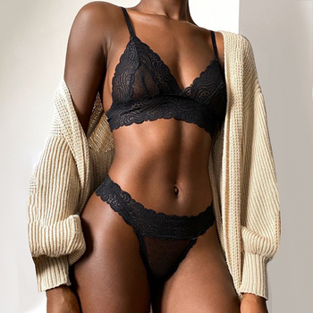 Sexy Underwear Dot Mesh Transparent Bra Set Women Lace See-Through Bralette Comfort Thin Brassiere Thong Set Femme Sex Lingerie embroidered mesh bralette set
