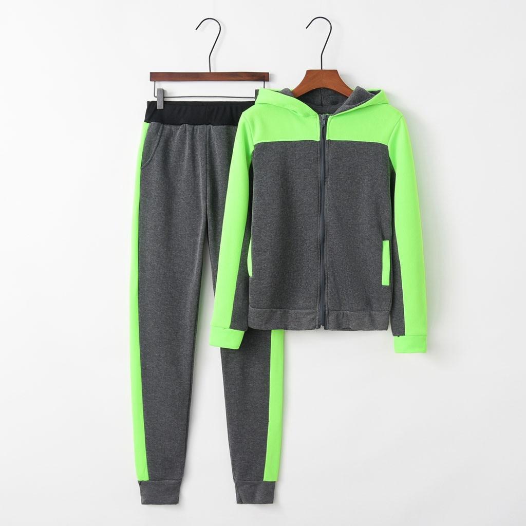 Autumn Running Tracksuit Sportwear Women Printed Long Sleeved Hooded Zipper Sweatshirt Jacket pant Sport Suit 2 Piece Set
