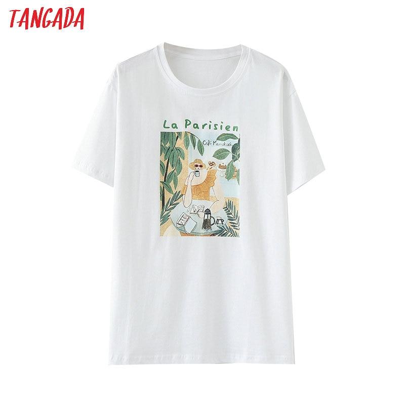 Tangada Women Vintage Print Cotton T Shirt Short Sleeve O Neck Tees Female Casual Tee Shirt Street Wear Top BAO15