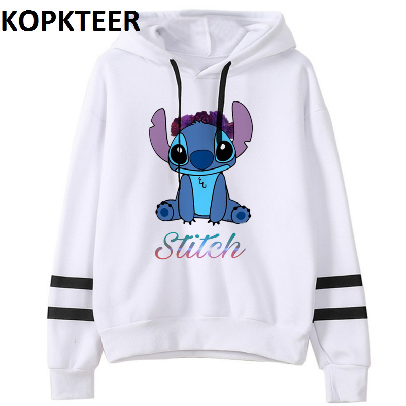 Stitch Print Women Pink White Hoodie 2019 Funny Winter Gothic Hoodies Sweat Femme Tops Female Harajuku Thick Pullover Clothes
