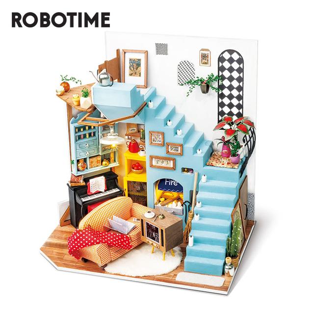 Robotime 2020 New Arrival 214pcs DIY Joy's Peninsula Living Room Doll House with Furniture Children Adult Miniature Dollhouse