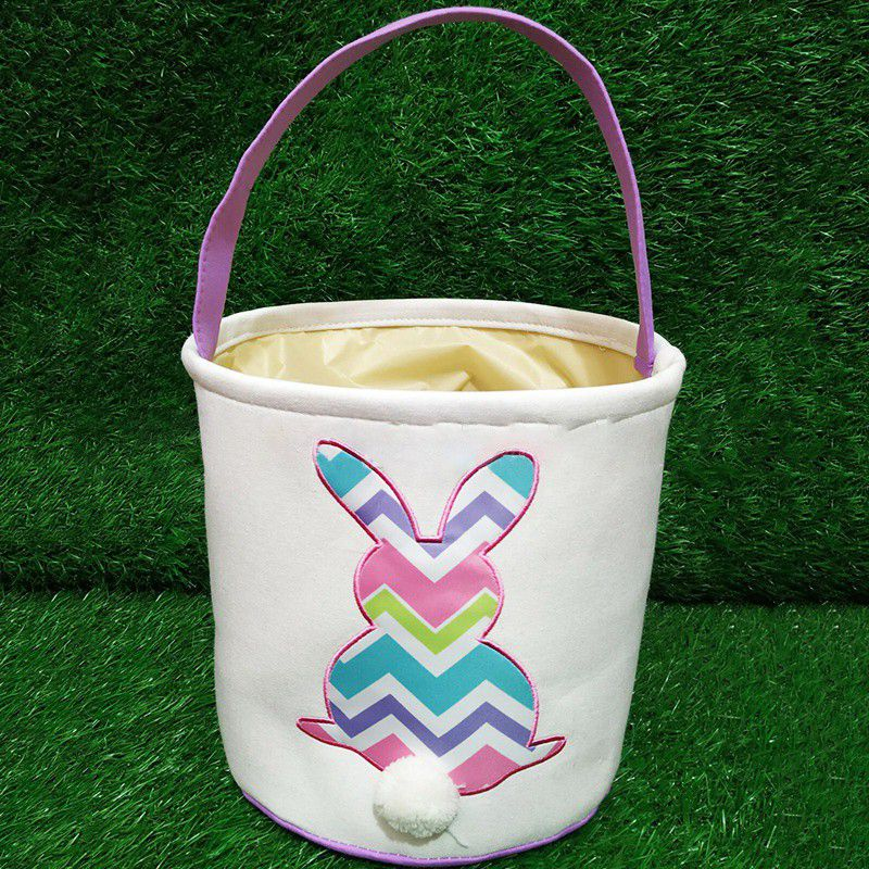 1Pcs Easter Bunny Basket Bags For Kids Canvas Cotton Carrying Gift Fluffy Tails Printed Rabbit Toys Eggs Hunt Basket Bucket Tote