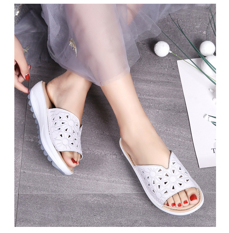 AH 1975-2020 Genuine Leather Womens Flat Slides Casual Hollows Summer Beach Flip Flops-8