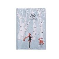크리 에이 티브 양장본 연도 계획 노트 365 일 내부 페이지 월간 일일 플래너 주최자 일기  흰색 + 녹색 눈 사슴