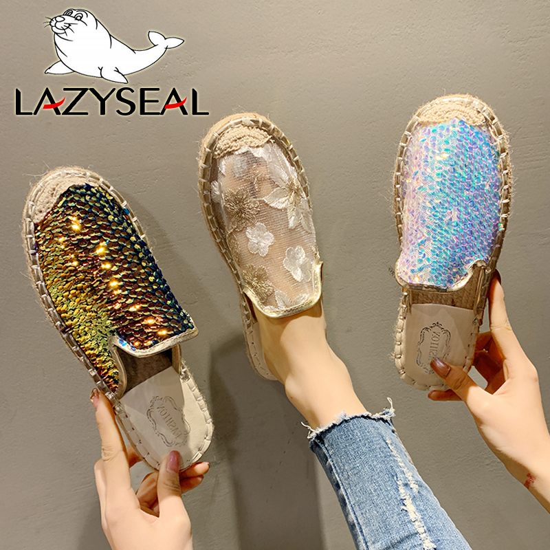 LazySeal Air Mesh Bling Half Slippers Women Mules Fish Scales Slides Woman Shoes Hemp Flat Heel Shoes Women Cotton Fabric Shoes