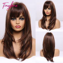 TINY LANA Ombre Dark Brown Golden Highlight Wigs Medium Long Straight Layered Synthetic Wigs With Bangs for Black Women Cosplay