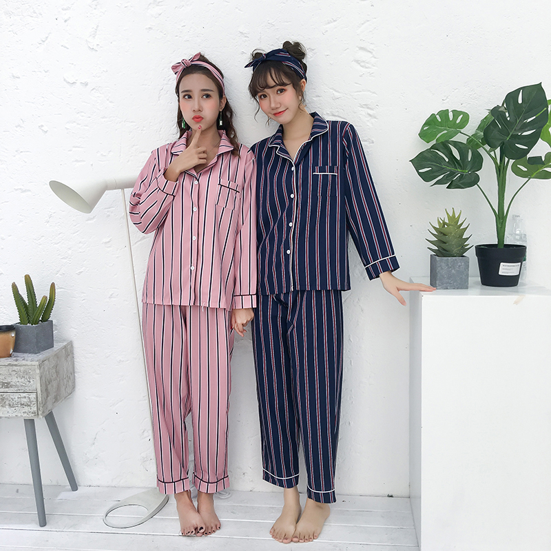 Striped 2 Two Piece Set Sleepwear Women Autumn Lingerie Sexy Night Suit Plus Size Nightwear Shirt+Pants Cotton Pajamas Turn-down
