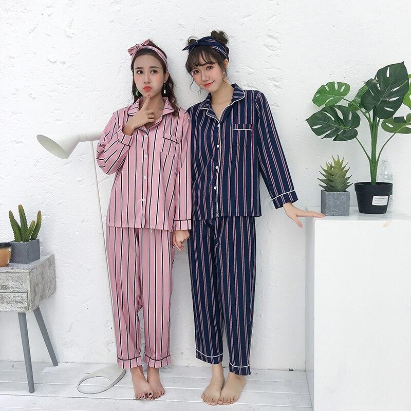 Striped 2 Two Piece   Set   Sleepwear Women Autumn Lingerie Sexy Night Suit Plus Size Nightwear Shirt+Pants Cotton   Pajamas   Turn-down