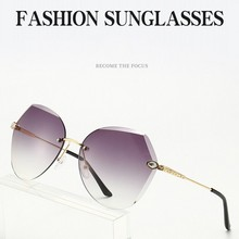 Fashion frameless ladies sunglasses gradient ocean color big frame sung