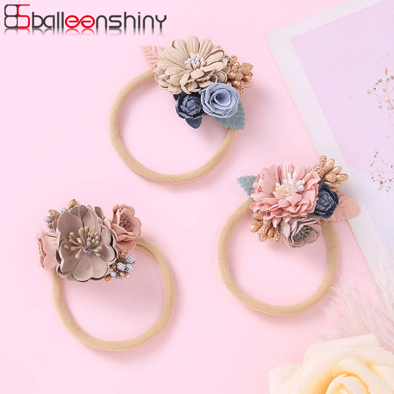 Balleenshiny New Fashion Floral Baby Girl Headband Kids Girls Hair Accessories Baby Shower Headwear Christmas Gift For Children