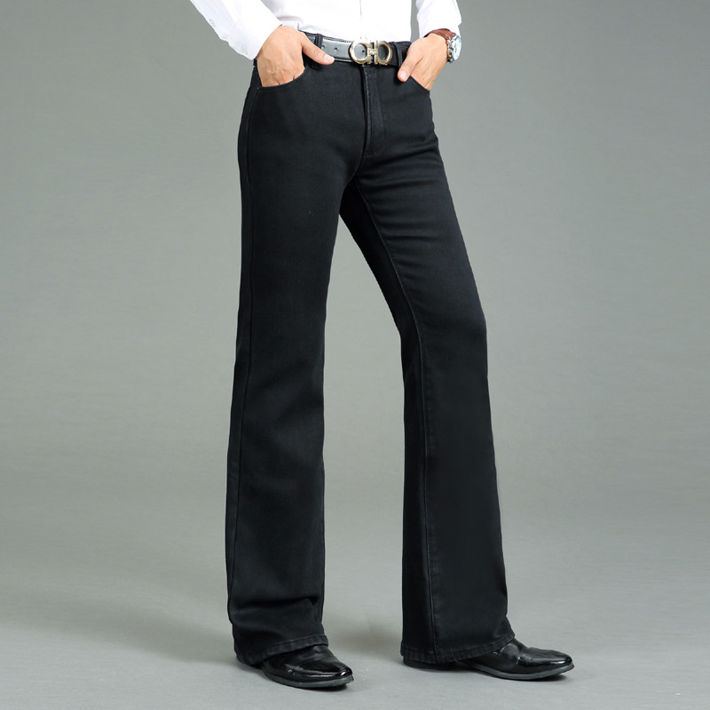 Jeans Men Winter Men's Thick Horned Jeans Warm Thicken Plus Velvet Flare Pants Micro Horn Elastic Black Jeans