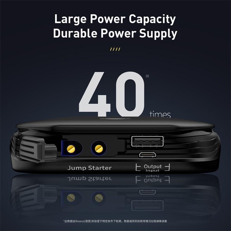 Baseus Car Jump Starter Power Bank 12V Auto Starting Device 800A Car Booster Battery Jumpstarter Emergency Buster Jumper Start 5