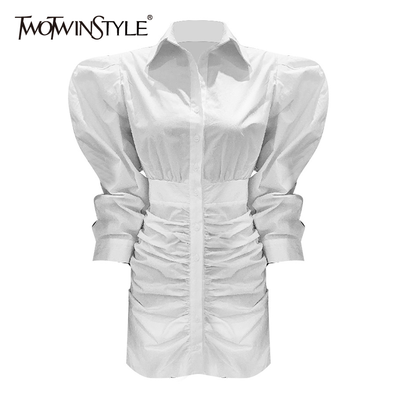 TWOTWINSTYLE Elegant Ruched Women Dress Lapel Collar Puff Long Sleeve High Waist Ruched Slim Casual Dresses Female Fashion Tide