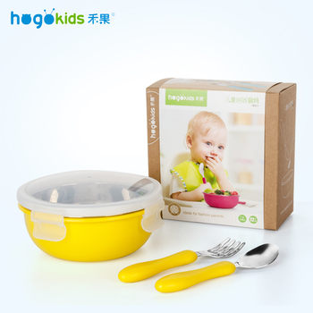 Hogokids Dish Set of Children's Dishes Stainless Steel Bowl Children's Dish Tableware for Feeding Baby Feeding Bowl Dinnerware