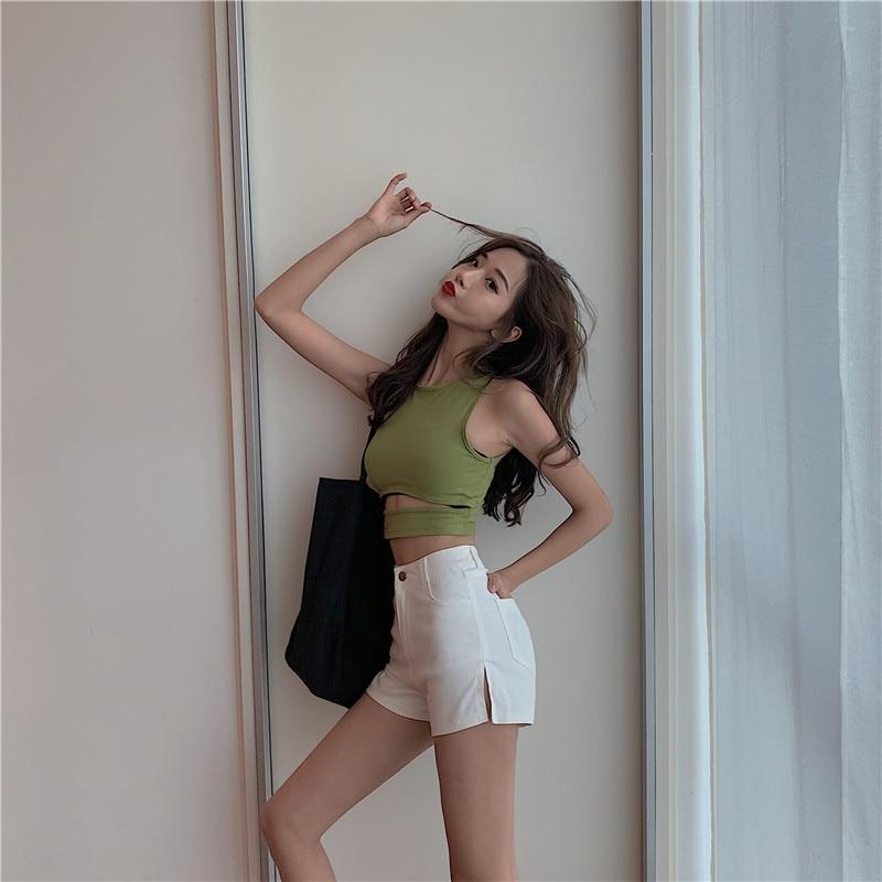 Photo Shoot Control 5 Retro High-waisted Slit-Shorts Slimming Versatile Hot Pants 7656 #