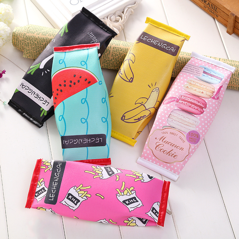1 PC Korea Fun Cookies Chocolate Snacks Fruits Pen Bag Creative Cute Kawaii School Student Stationery