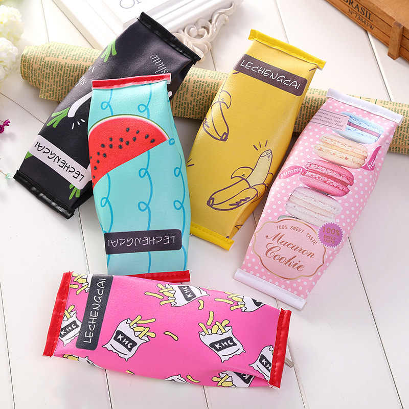 1 PC Korea Fun Cookies chocolate snacks Fruits pen bag creative Cute Kawaii School student stationery